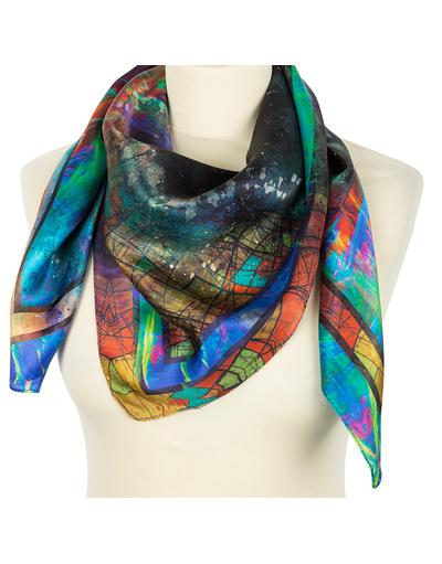 Silk shawl ''The universe''