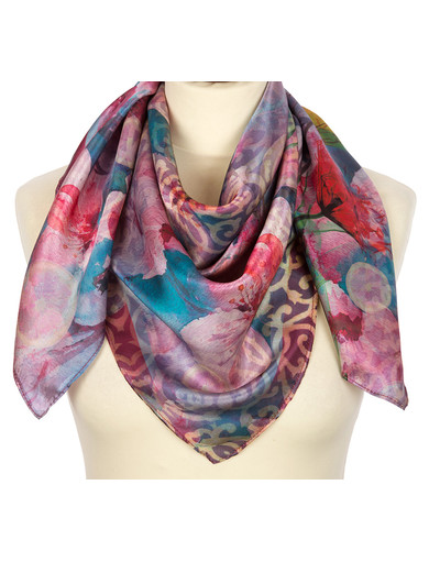 Silk shawl ''Pastel flowers''