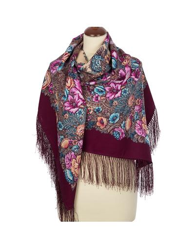Wool shawl ''Floral Symphony'' vinous