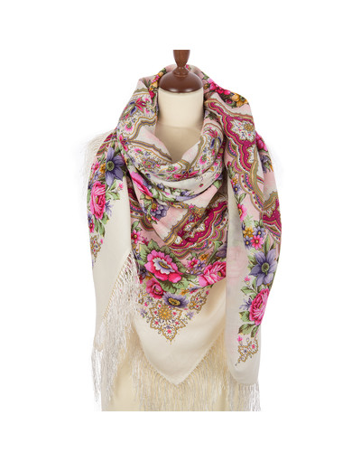Wool shawl ''Snowflakes and flowers'' ecru