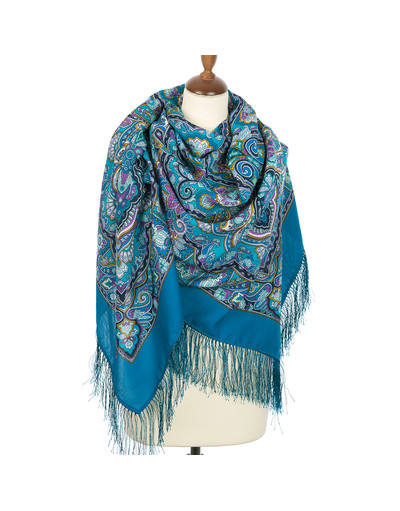 Wool shawl ''Beauty Queen'' blue