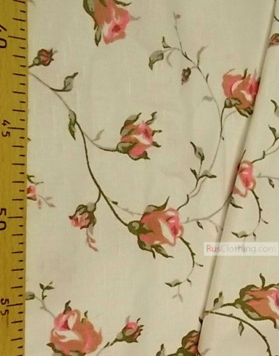 Floral cotton fabric by the yard ''Pink Roses On White''}