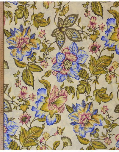 Russian pattern cotton fabric ''Flowers on yellow''