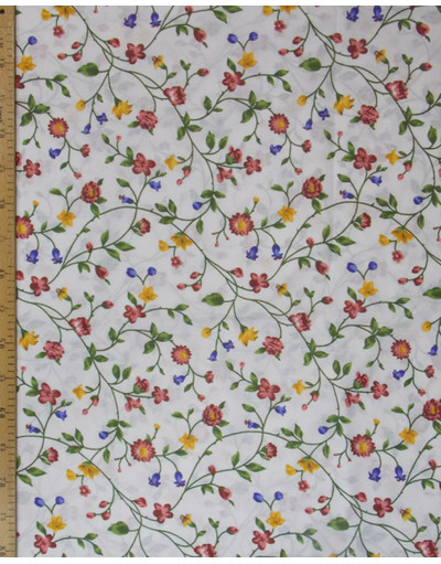 {[en]:Russian pattern cotton fabric Flowers branches}
