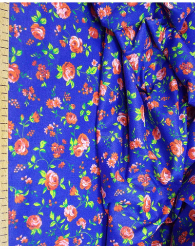 {[en]:Floral fabric by the yard Flowers on blue}