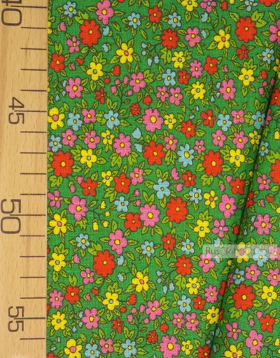 Floral cotton fabric by the yard ''Small Wildflowers On Green''}