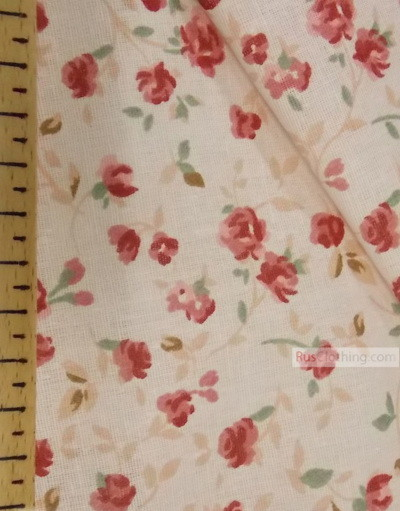 Floral cotton fabric by the yard ''Small Pink Roses On A Soft Cream''}