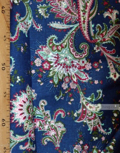 Paisley coton fabric by the yard ''Paisley Red On Dark Blue''}