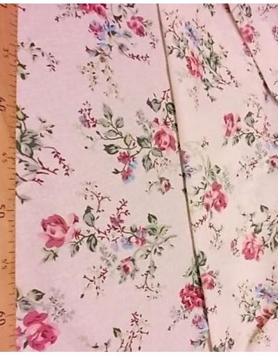{[en]:Russian pattern cotton fabric, 'Milk Roses}