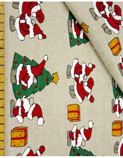 Russian linen fabric by the yard ''Santa Claus''