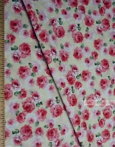 Floral cotton fabric by the yard ''Medium, Roses On A Cream Field''}