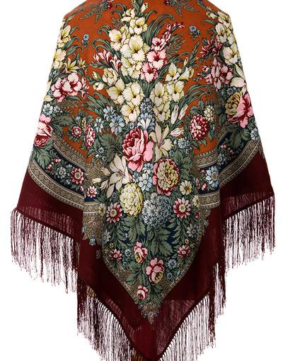 Châle et foulard russe en laine ''Golden days''