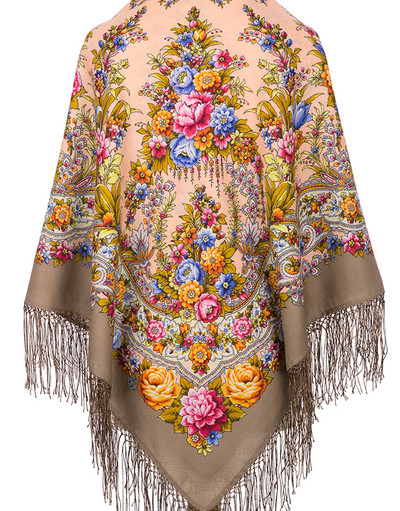Pavlovo Posad wool shawl Russia ''Fire Festival''