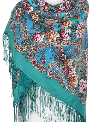 Pavlovo Posad wool shawl Russia ''River of Love''