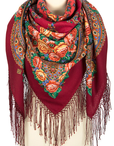 Châle et foulard russe en laine ''Flame of the Heart''