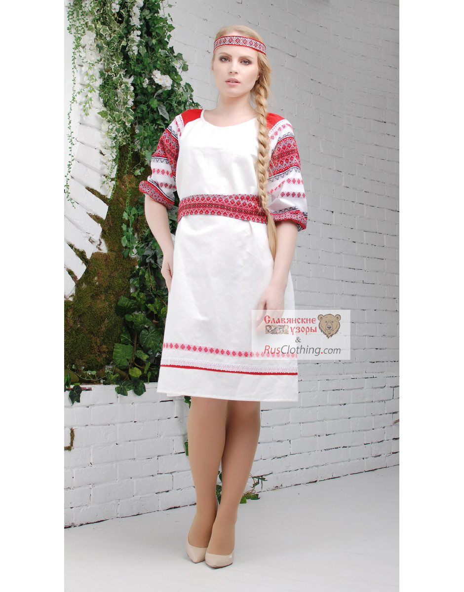 3a6081ed14c linen dress with Russian ornaments